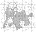 Stencil of puzzle key Royalty Free Stock Photos