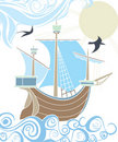 Stencil sailing vessel in the sea Stock Photography