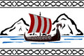 Stencil of viking ship second variant vector illustration Stock Photos