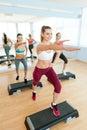 Step aerobics. Royalty Free Stock Photo