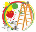Step-ladder et peintures Images stock
