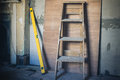 Step ladder and level Royalty Free Stock Photo
