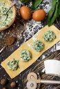 The process of making ravioli with ricotta, spinach and nutmeg Royalty Free Stock Photo