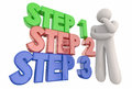 Step 1 2 3 Process System Procedure Thinker 3d Illustration