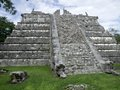 Step pyramid in chichen itza a the archaeological site yucatan mexico Royalty Free Stock Photo