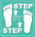 Step by step emblem. Presentation graphic element for working process in steps. Pictogram with white foot traces and arrows on whi