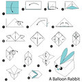 Step by step instructions how to make origami A Balloon Rabbit.