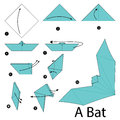 Step by step instructions how to make origami A Bat. Royalty Free Stock Photo