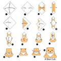 Step by step instructions how to make origami A Bear cub.