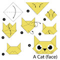 Step by step instructions how to make origami A Cat. Royalty Free Stock Photo