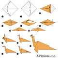 Step by step instructions how to make an origami dinosaur.