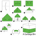 Step by step instructions how to make origami A Garbage Bin.