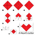 Step by step instructions how to make origami A Heart's Letter.