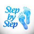Step by step sign illustration design over a white background Stock Photography