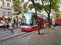 Stepanska tram stop in prague czech republic september the red having stopped stepanskaya city center large streetcar windshield Royalty Free Stock Photos