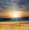 Steppe crimean with beautiful sunset Royalty Free Stock Photography