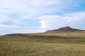 Steppe landscape mountain with blue sky and clouds Royalty Free Stock Image