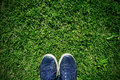 Stepping on the grass Royalty Free Stock Photo