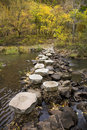 Stepping stones in autumn forest Royalty Free Stock Photo