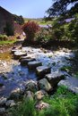 Stepping stones curved at stainforth Royalty Free Stock Images