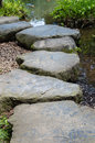 Stepping stones at narita shrine foming a winding path Royalty Free Stock Photo