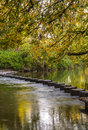 Stepping Stones over the river Mole, Surrey, UK Royalty Free Stock Photo