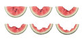 Steps for eating a slice of watermelon different stages being eaten isolated on white background Royalty Free Stock Photos