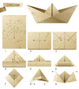 Steps instruction how to make paper boat Royalty Free Stock Images