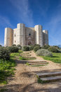 Steps leading to the castel del monte in italy Stock Images