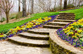Steps leading to garden path Royalty Free Stock Photos