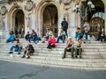 On the steps of the Opera Garnier in Paris Royalty Free Stock Photo