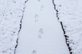 Steps on snow covered path with grass Royalty Free Stock Photo
