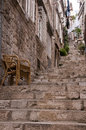 Steps in street in dubrovnic in croatia europe the walled city of it is one of the most delightful tourist resorts of the Royalty Free Stock Photos