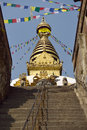 Steps to the swayambhunath temple in kathmandu nepal Stock Photography
