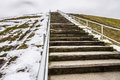 Steps to Top of Mount Trashmore with Melting Snow Royalty Free Stock Photo