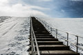 Steps to Top of Mount Trashmore with Snow Royalty Free Stock Photo