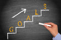 Steps towards goals blackboard with white chalk and up arrow with the graphics in yellow with a woman s hand holding a piece of Royalty Free Stock Image