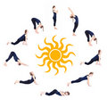 Steps of Yoga surya namaskar sun salutation Royalty Free Stock Photo