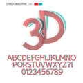 Stereo anaglyphic alphabet and digit vector set of Royalty Free Stock Photos