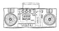 Stereo Boombox radio Vintage handdrawn lineart illustration