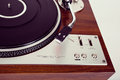 Stereo turntable vinyl record player analog retro vintage top view Royalty Free Stock Photos