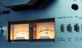 Stereo vu meter reel to reel deck background Stock Photo