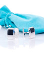 Sterling silver cuff links Royalty Free Stock Photo