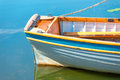 Stern of a boat on the lake closeup Stock Image