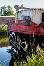 Stern post Cargo ship boat vessel, Canal Leuven Mechelen, Wijgmaal, Belgium Royalty Free Stock Photo