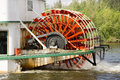 Sternwheeler churning moves riverboat paddle steamer vessel down a wheel is seen here on Stock Photos