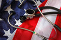 Stethoscope american flag shallow depth field selective focus Royalty Free Stock Image