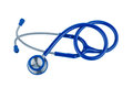 Stethoscope a blue lying on a white background Royalty Free Stock Images