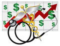 Stethoscope caduceus with health cost rising chart and rod of medical symbol on white background illustration Royalty Free Stock Photography