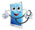 Stethoscope cartoon phone mascot a holding a and doing thumbs up Stock Image